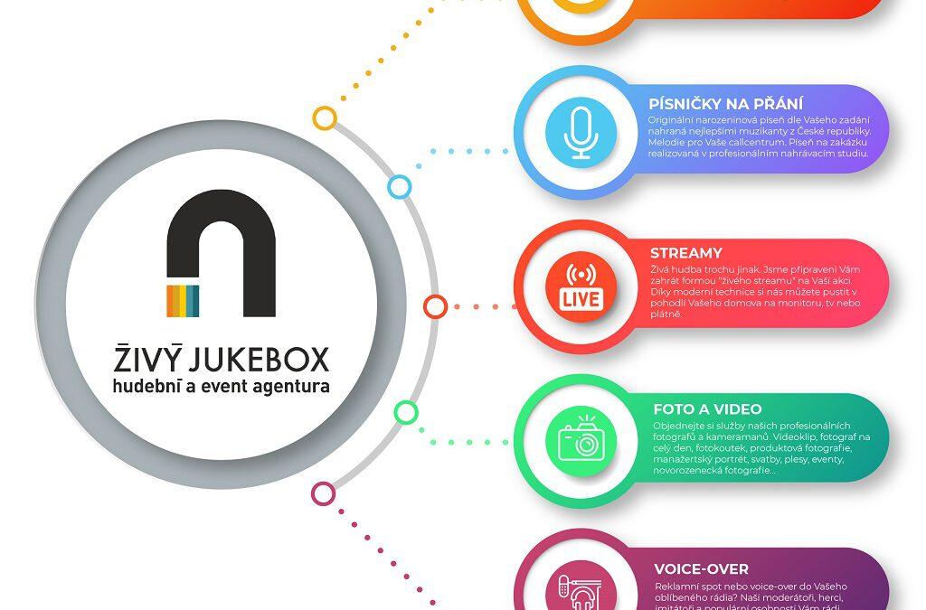 Webové stránky, písničky na přání, streamy, fotky, videa, grafika atd.